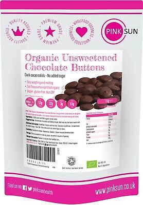£15.95 • Buy Unsweetened Baking Chocolate 1kg Organic Cocoa Buttons Sugar Dairy Free Keto