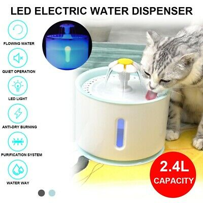 2.4L Automatic USB LED Electric Pet Water Fountain Cat/Dog Drinking Dispenser UK • 14.19£