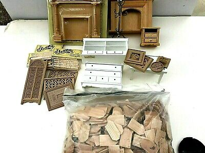 Lot Of 18 Miniature Doll House Furniture & Accessories, Plus Roofing Shingles • 18$