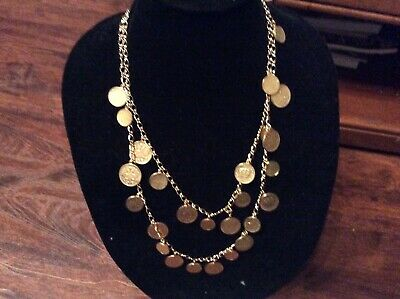 Joan Rivers 2 Strand Gold Tone Coin Charm Necklace • 19.99$