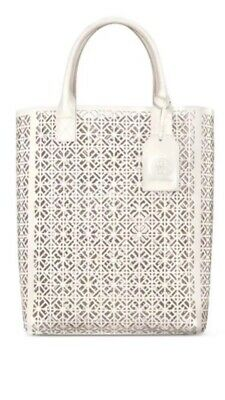 $50 • Buy Tory Burch Large White Lace Perforated Patent Tote Bag Handbag