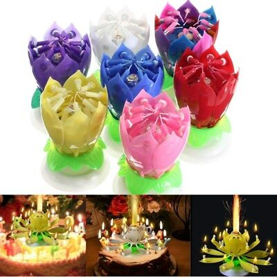 $ CDN6.76 • Buy Magical Flower Happy Birthday Blossom Lotus Musical Candle Romantic Party Gift
