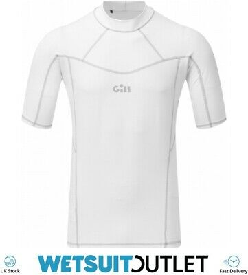 Gill Mens Pro Short Sleeve Rash Vest Top - White - Lightweight UV Sun • 32.95£