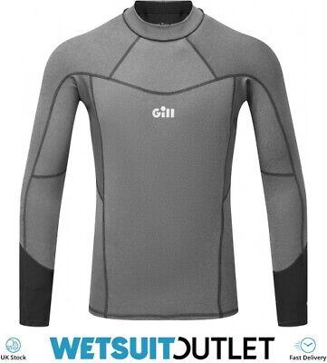 Gill Mens Pro Long Sleeve Rash Vest Top - Grey Melange - Lightweight UV Sun • 39.94£