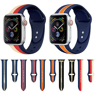 $ CDN9.67 • Buy Stripe Silicone Wrist Strap Band For Apple Watch SE IWatch Series 6/5/4/3/2 44mm