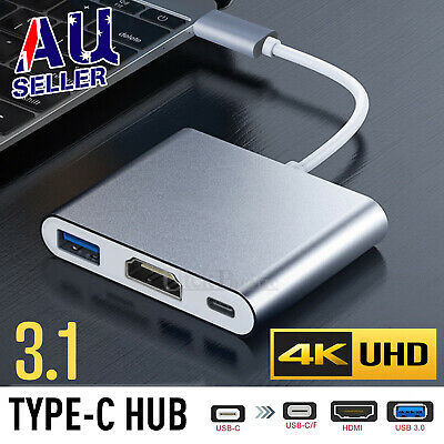 AU19.95 • Buy USB 3.1 Type-C USB-C To Female HUB 3IN1 4K HD HDMI Data Charging Cable Adapter