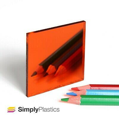 3mm Plaskolite® Orange 1119 Acrylic Mirror Perspex Plastic Sheet Panel / A4 A3  • 9.40£