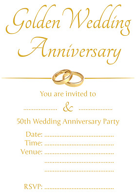 £1.99 • Buy 1-100 PACK OF 50TH GOLDEN WEDDING ANNIVERSARY PARTY INVITATIONS Cards Invite