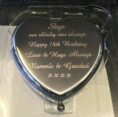 Personalised Engraved Compact Mirror - Heart Engraved Free • 11£