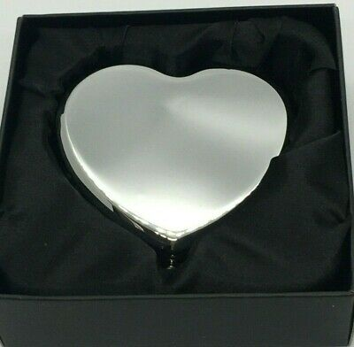 Personalised Silver Plated Compact Mirror - Heart Engraved Free • 11£