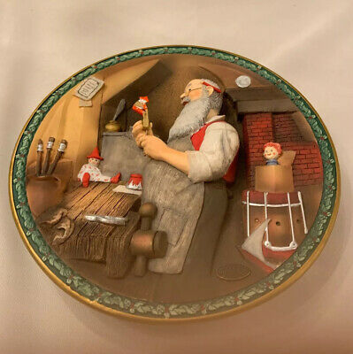 $ CDN22.67 • Buy 1992 Limited NORMAN ROCKWELL 'S CHRISTMAS LEGACY Santa S Workshop 3D Plate MINT
