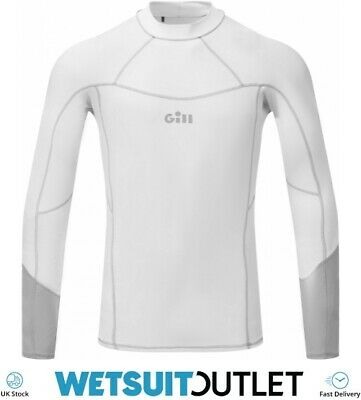 Gill Mens Pro Long Sleeve Rash Vest Top - White - Lightweight UV Sun • 39.94£