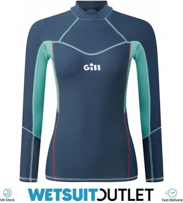 Gill Womens Pro Long Sleeve Rash Vest Top - Ocean - Lightweight UV Sun • 39.94£