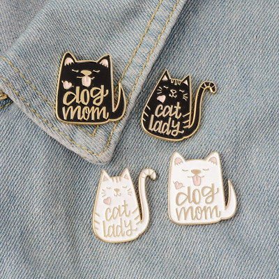 Dog Mom / Cat Lady - Enamel Pin Pins Badge Badges - Funny Quotes Animal Lover • 3.95£