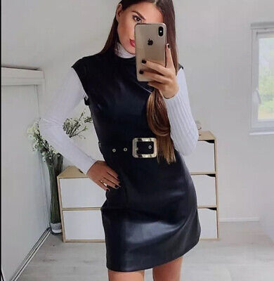 NWT Zara Woman Mini Dress Black Faux Leather With Belt Belted Size LARGE • 42.99$