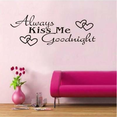 Always Kiss Me Goodnight Love Quote Wall Stickers Bedroom Removable Decals ONE • 2.56£