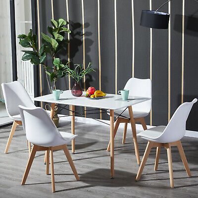 £60.99 • Buy Rectangle Dining Table And 4 Chairs Set Dining Room Lounge With Solid Wood Legs