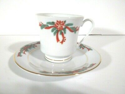 $8.95 • Buy Tienshan Poinsettia Ribbon Cups And Saucer