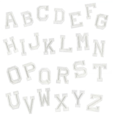 £0.99 • Buy White A-Z Alphabet Letter Iron On Patches Embroidery Patch Letters Clothes Names