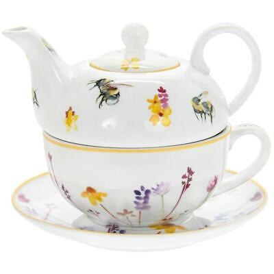 Colourful Busy Bees And Floral Fine China Tea For One Cup Mug Teapot • 14.75£