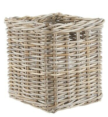 Wicker Storage Basket Square Grey Buff Rattan • 24.99£