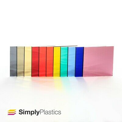 3mm Plaskolite® Coloured Acrylic Mirror Perspex Plastic Sheet Panel / A4 & A3  • 9.40£