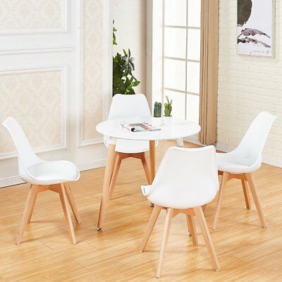 £69.99 • Buy White Round Dining Table And 4 Chairs Set Kitchen Dining Room Retro Solid Wood