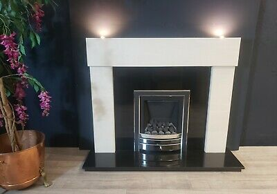 Limestone Fireplace With Black Granite Back And Hearth & Lights • 650£