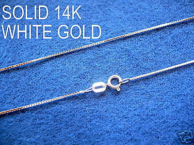 $129.99 • Buy 14K SOLID WHITE GOLD LADIES BOX CHAIN NECKLACE Length Choice 16 18 20  22  24