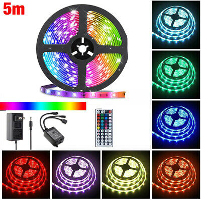 $10.38 • Buy 5M 5050 SMD RGB 300 LED Lighting Strips 44 Key Remote Controller For TV,Room