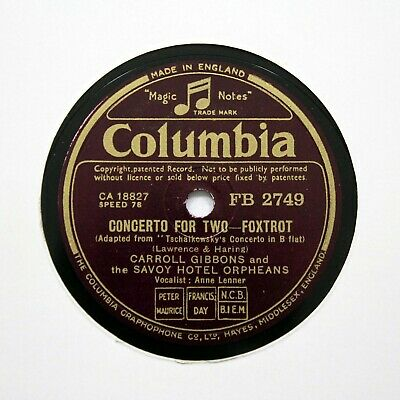 £5.95 • Buy SAVOY HOTEL ORPHEANS  Concerto For Two  1941 (EE+) COLUMBIA FB-2749 [78 RPM]