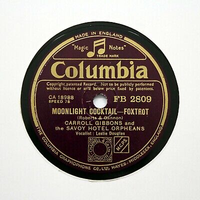 SAVOY HOTEL ORPHEANS  Moonlight Cocktail  1942 (E+) COLUMBIA FB-2809 [78 RPM] • 5.95£