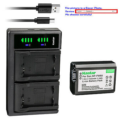 $ CDN12.58 • Buy Kastar Battery LCD Dual Charger For Sony NP-FW50 BC-VW1 & ILCE-6500 Alpha A6500