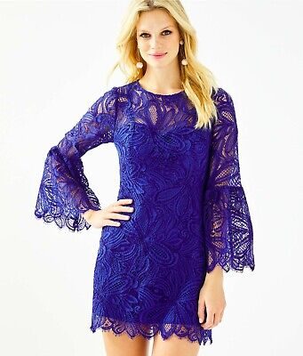 $108 • Buy Lilly Pulitzer Denise Flounce Sleeve Romper, Lapis Lazuli Floral Loopy Lace