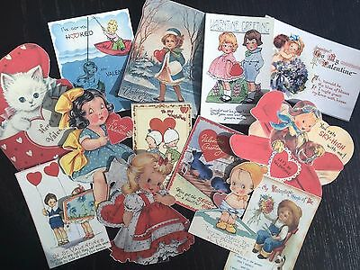 $4.99 • Buy BB77-- Lot Of 13 Vintage Valentine's Day Greeting Card DIE CUTS For CARD MAKING
