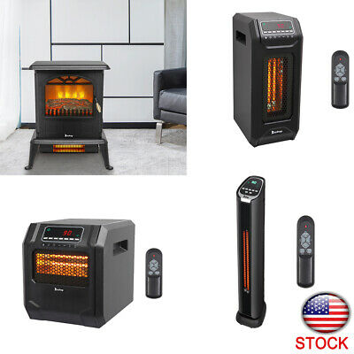 $66.69 • Buy Infrared Space Heater Electric Fireplace Quartz LED Safe Fire Stove Remote 1500W