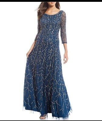 $110 • Buy Aidan Mattox Beaded 3/4 Sleeve Scoop Back A-line Gown Color: Teal Size:6