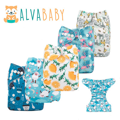 View Details ALVA Baby Cloth Nappies Printing Adjustable Reusable Pocket Diapers Cover 3-15KG • 4.29£