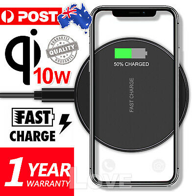 AU8.95 • Buy Qi Wireless Charger FAST Charging Pad Receiver For IPhone 11 XS XR 8 Samsung S9