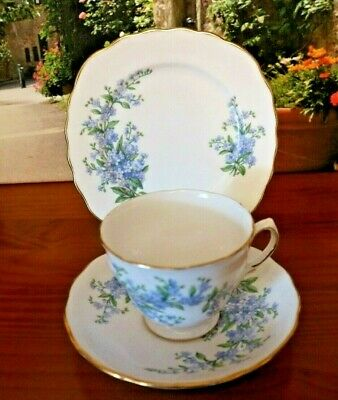 Royal Osborne China Blue Forget Me Not Tea Set Trio • 10.99£