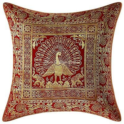 Indian Brocade Pillow Cover Red 16x16 Peacock Zippered Cushion Cover 1 Pc • 8.90£