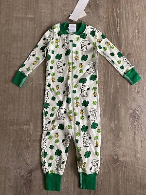 $19.99 • Buy New Hanna Andersson Sleeper PJs Pajamas St Patrick's Day Snoopy Zip 12-18 Months