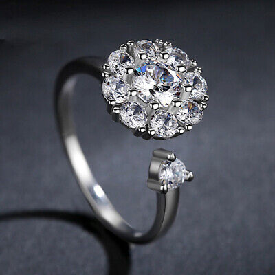 Women's Ring Spinning Rotating Open Anti-Anxiety Adjustable Crystal • 2.36£