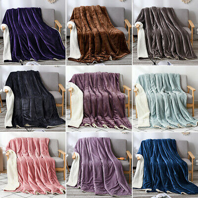 2 Layer Revisible Throw Blanket Cashmere Velvet Warm Weighted Bed Sofa Blanket • 49.19£