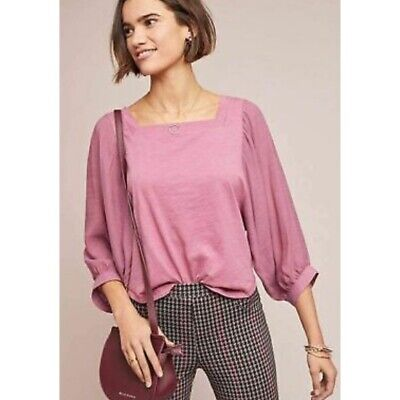 $ CDN34.65 • Buy Akemi + Kin Anthropologie Small Top Pink Square Neck Long Sleeve Cotton Blouse
