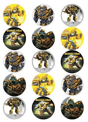 15 Pre-Cut Edible Icing Bumblebee Transformers Cupcake Cake Icing Toppers • 3.25£