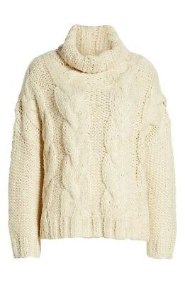 $23.76 • Buy Moon River Cable Knit Turtleneck Sweater Cream Small