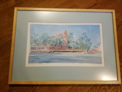 $68 • Buy R.E. Kennedy Sign & Numbered Watercolor Print The Southernmost House, Key West
