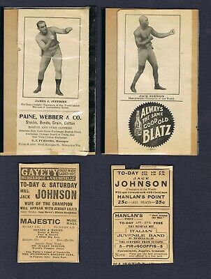 $50 • Buy VERY RARE Ca 1910 Boxing Picturing JACK JOHNSON JIM JEFFRIES 4 Newspaper Ads