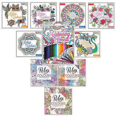 Colour Therapy Adult Colouring Books Floral Animal Pattern Anti Stress Relief • 3.99£